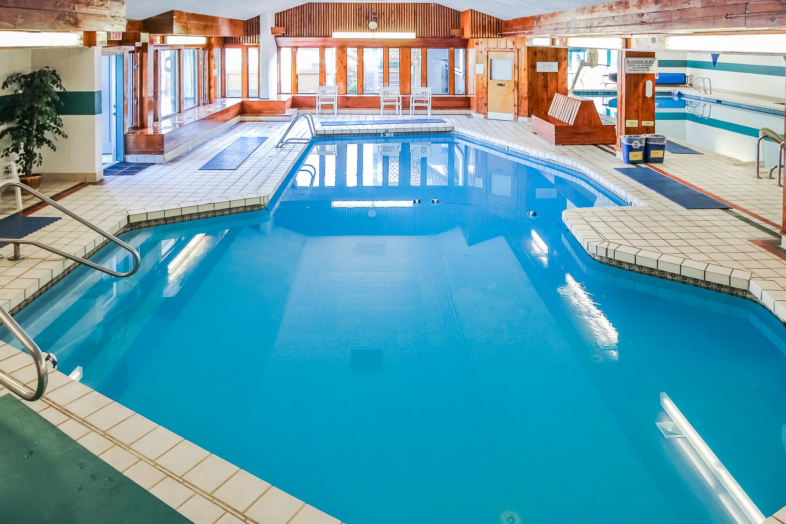 A peaceful indoor swimming pool at VRI's Village of Loon Mountain in New Hampshire.