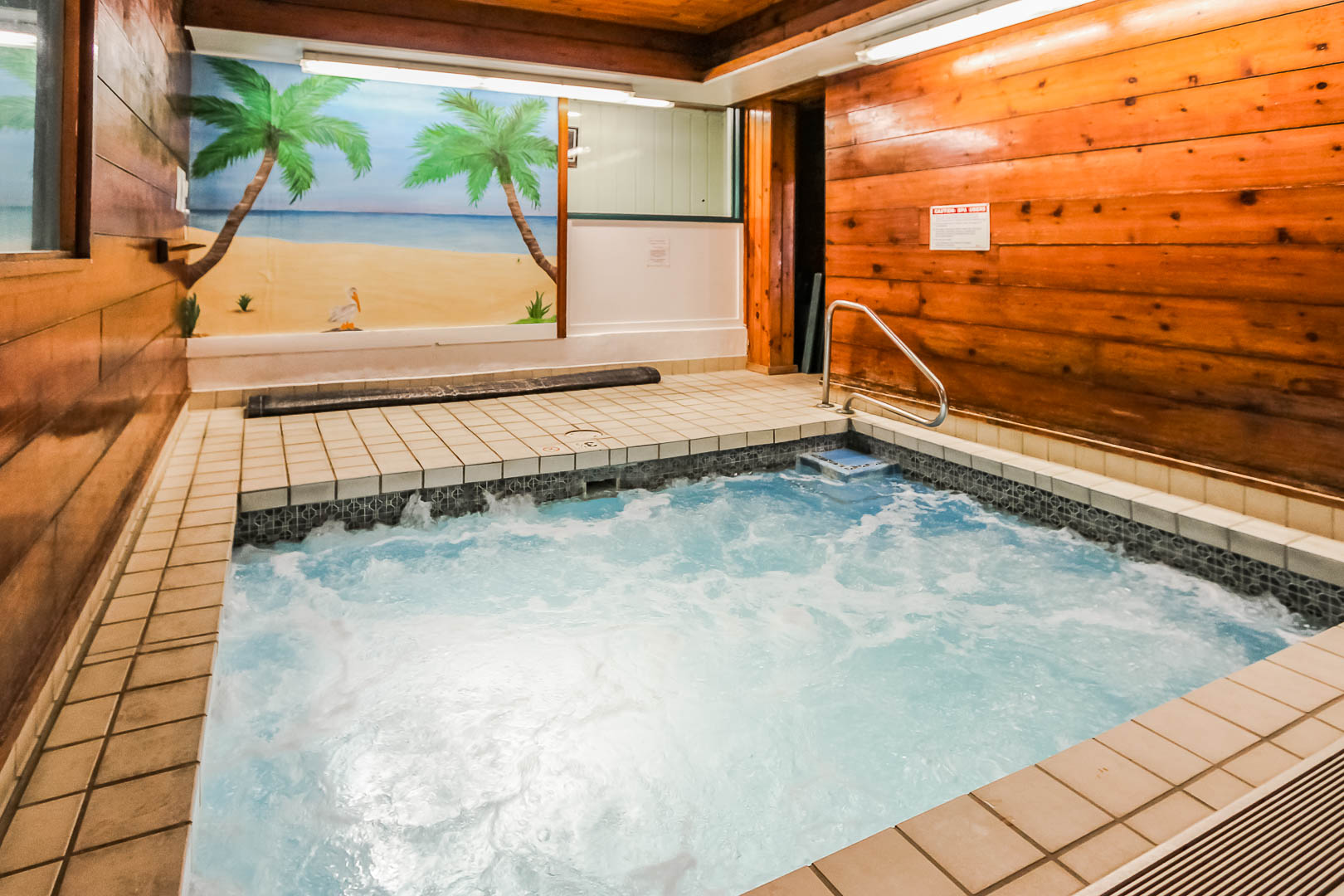 A massive indoor Jacuzzi tub at VRI's Village of Loon Mountain in New Hampshire.