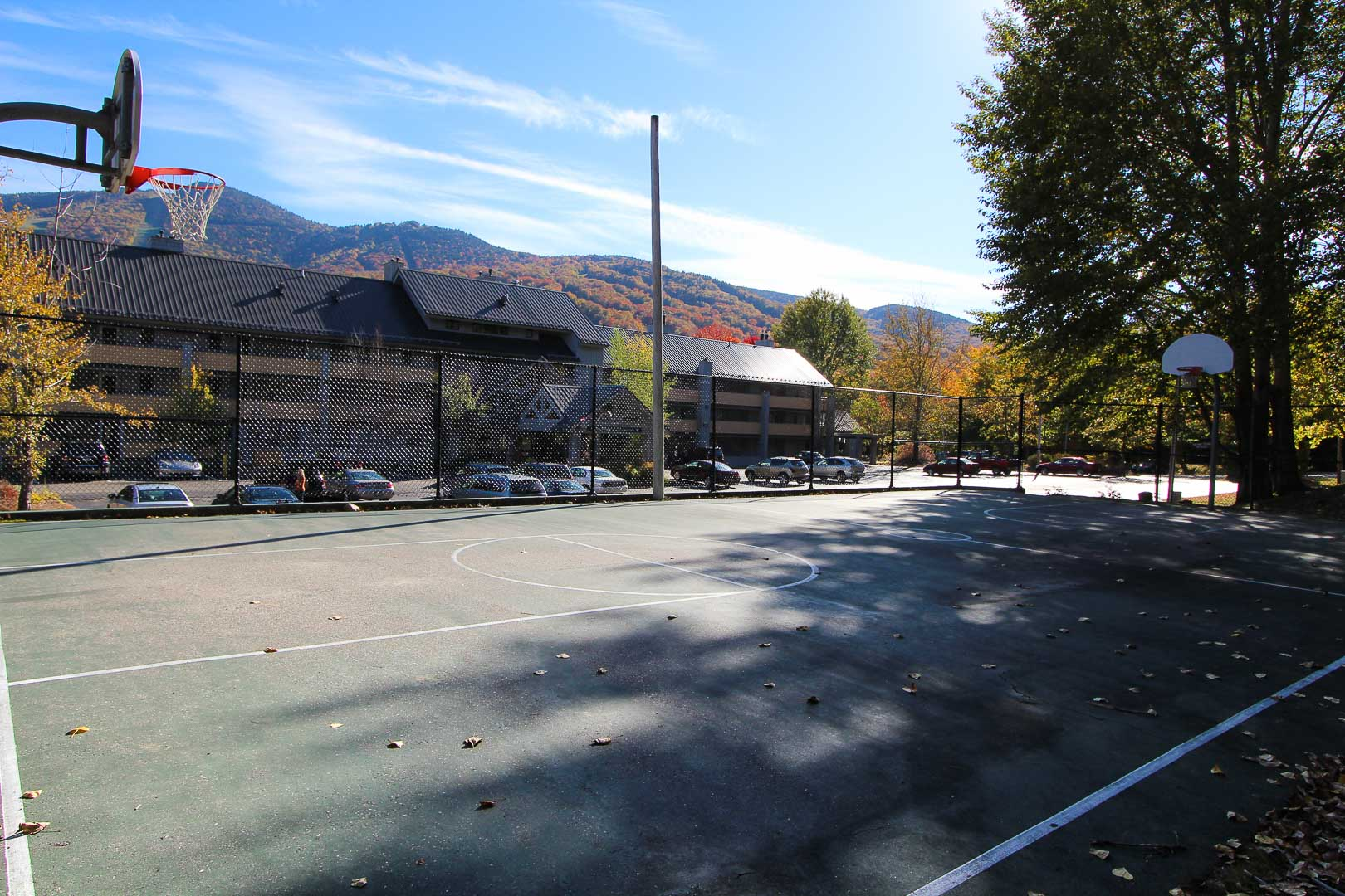 A large outdoor basketball at VRI's Village of Loon Mountain in New Hampshire.
