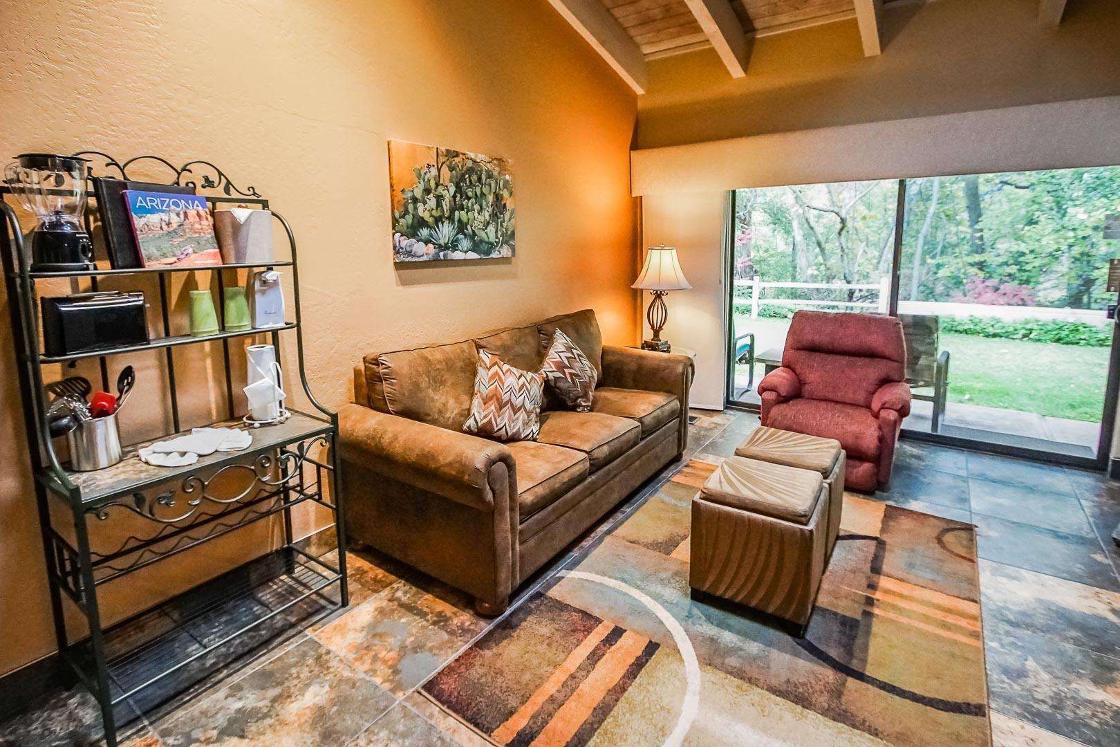 A spacious living room area at VRI's Villas at Poco Diablo in Sedona, Arizona.