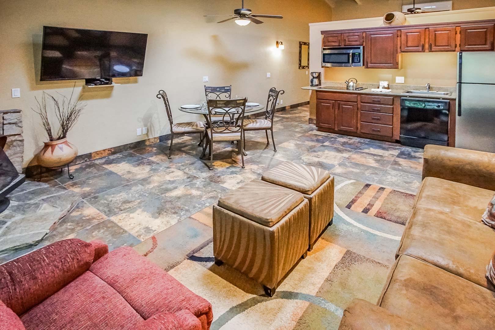 A renovated living room at VRI's Villas at Poco Diablo in Sedona, Arizona.