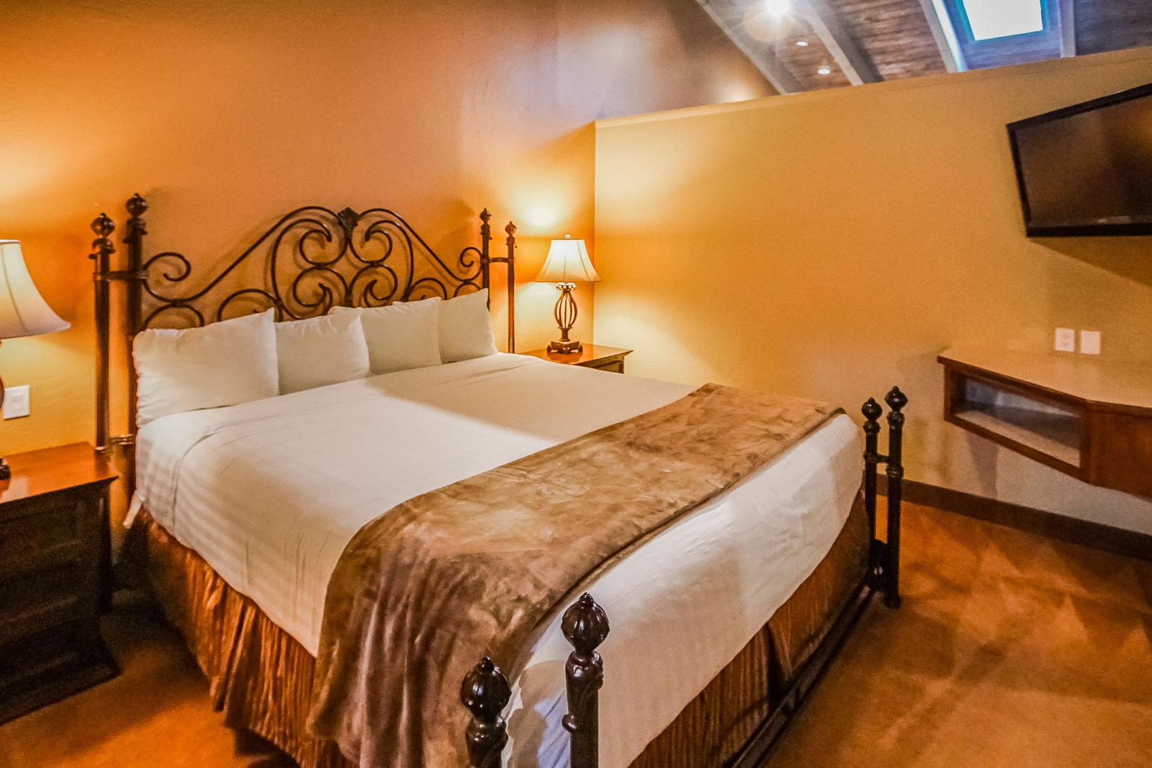 A spacious master bedroom at VRI's Villas at Poco Diablo in Sedona, Arizona.