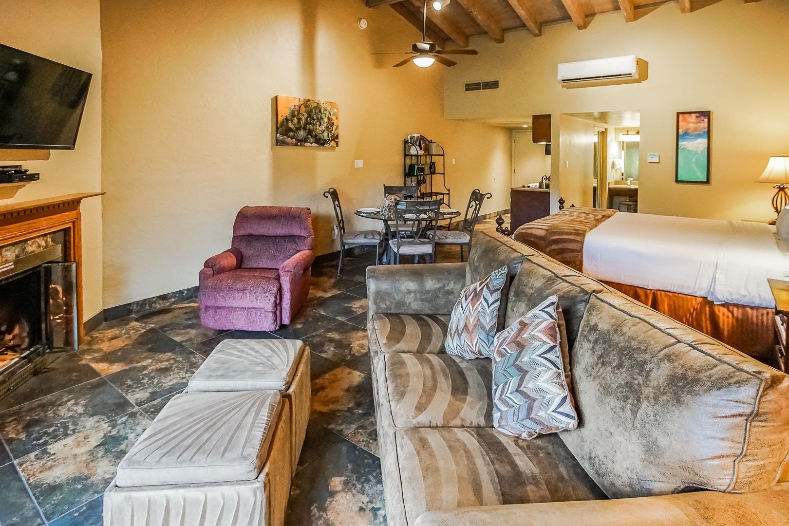 A spacious living room at VRI's Villas at Poco Diablo in Sedona, Arizona.