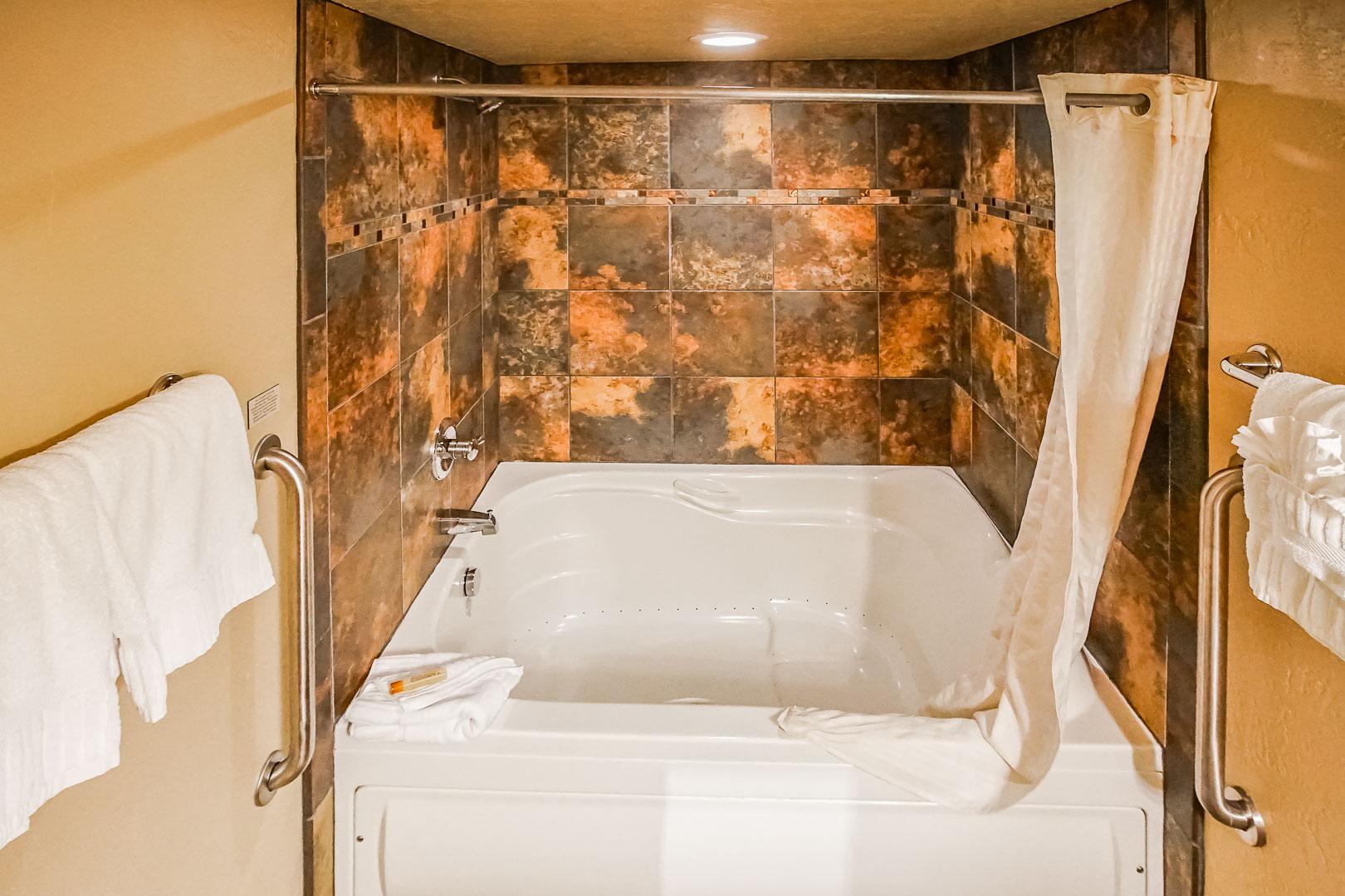 A clean bathroom at VRI's Villas at Poco Diablo in Sedona, Arizona.