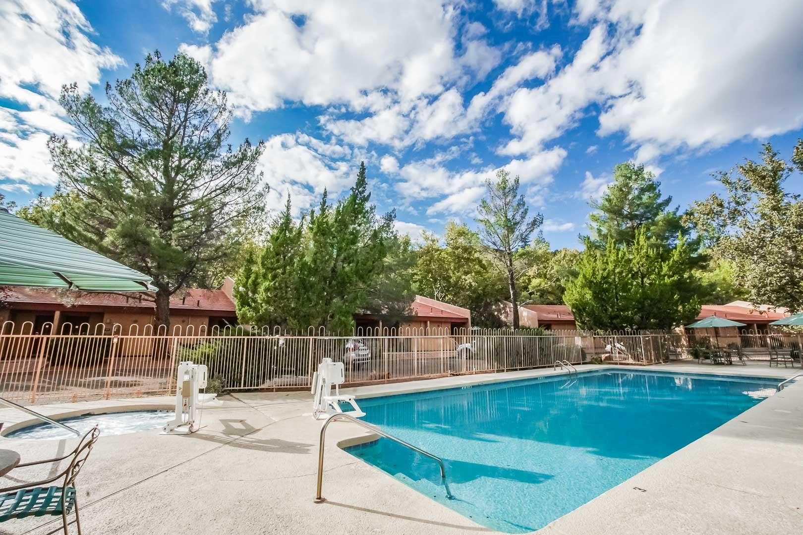 A crisp outdoor swimming pool at VRI's Villas at Poco Diablo in Sedona, Arizona.