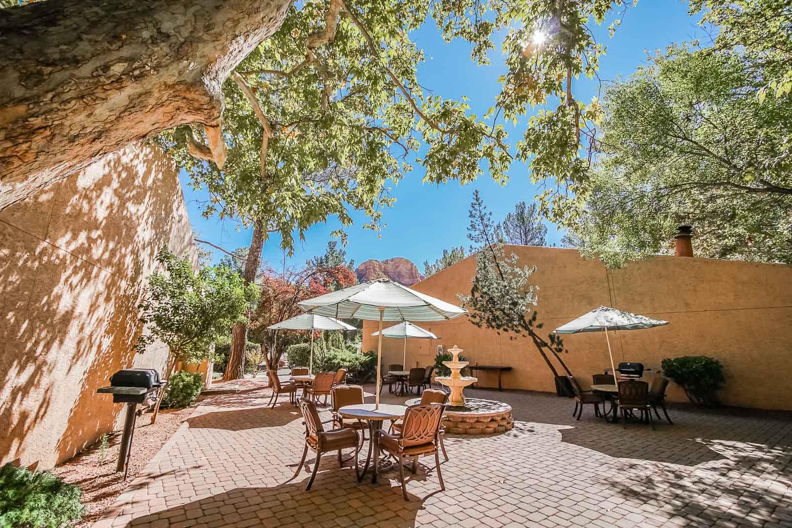 A peaceful view of the outdoor tables at VRI's Villas at Poco Diablo in Sedona, Arizona.