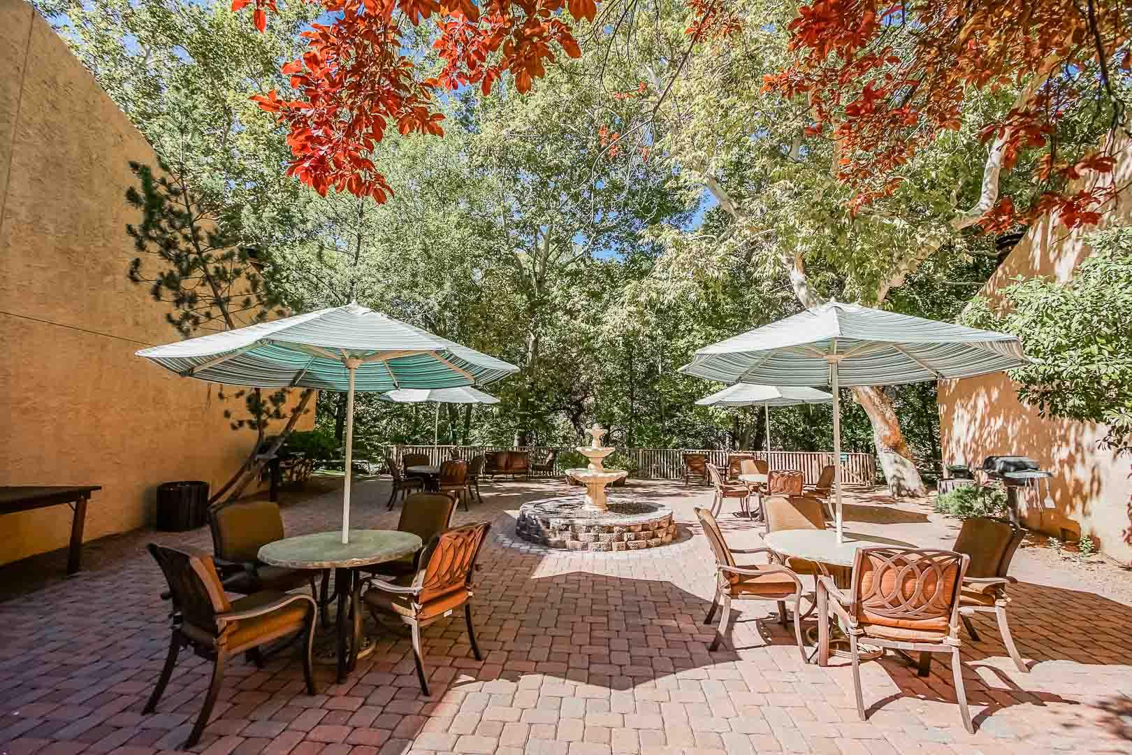 A peaceful outdoor seating at VRI's Villas at Poco Diablo in Sedona, Arizona.