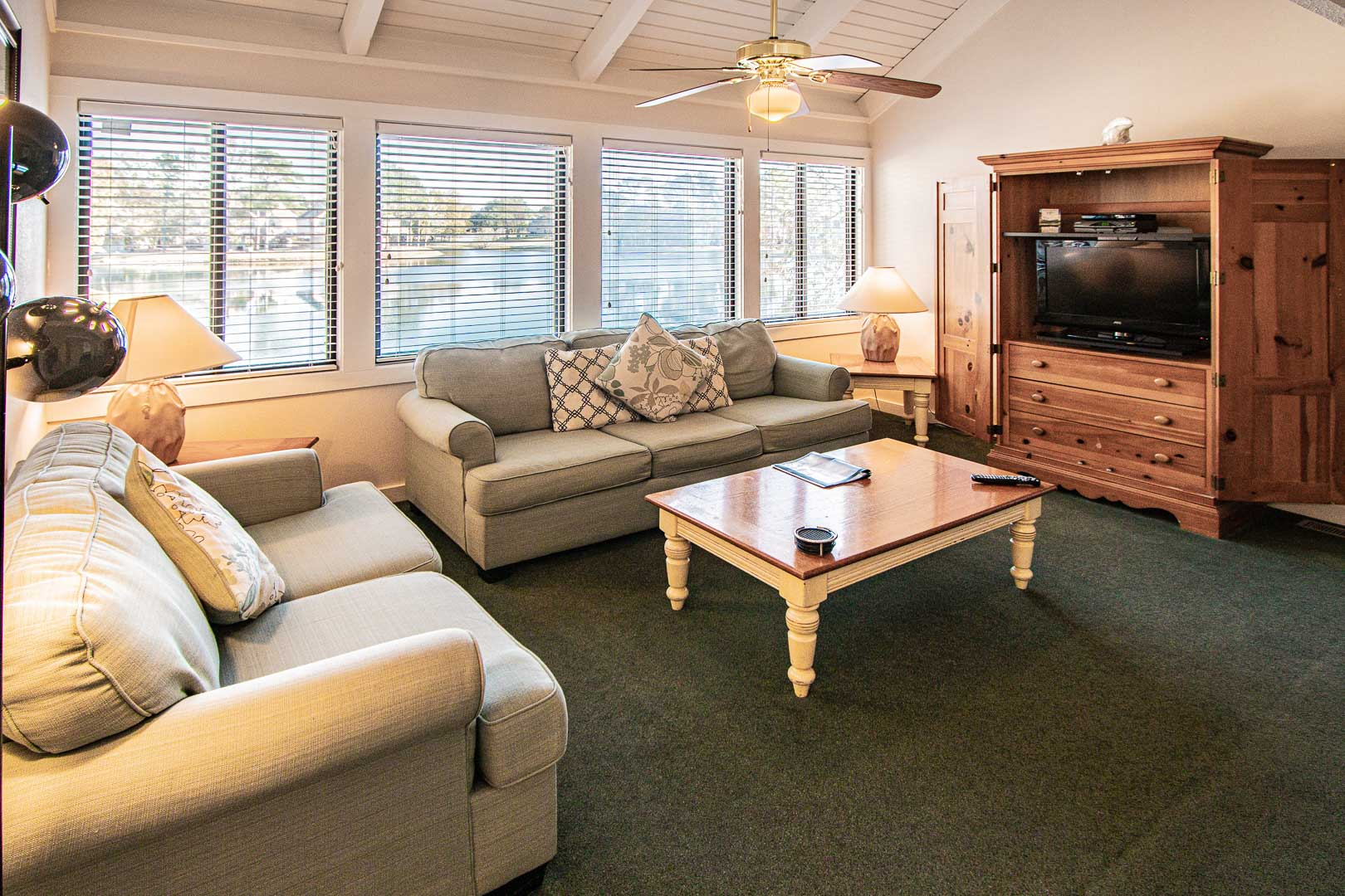 A cozy living room at VRI's Waterwood Townhomes in New Bern, North Carolina.