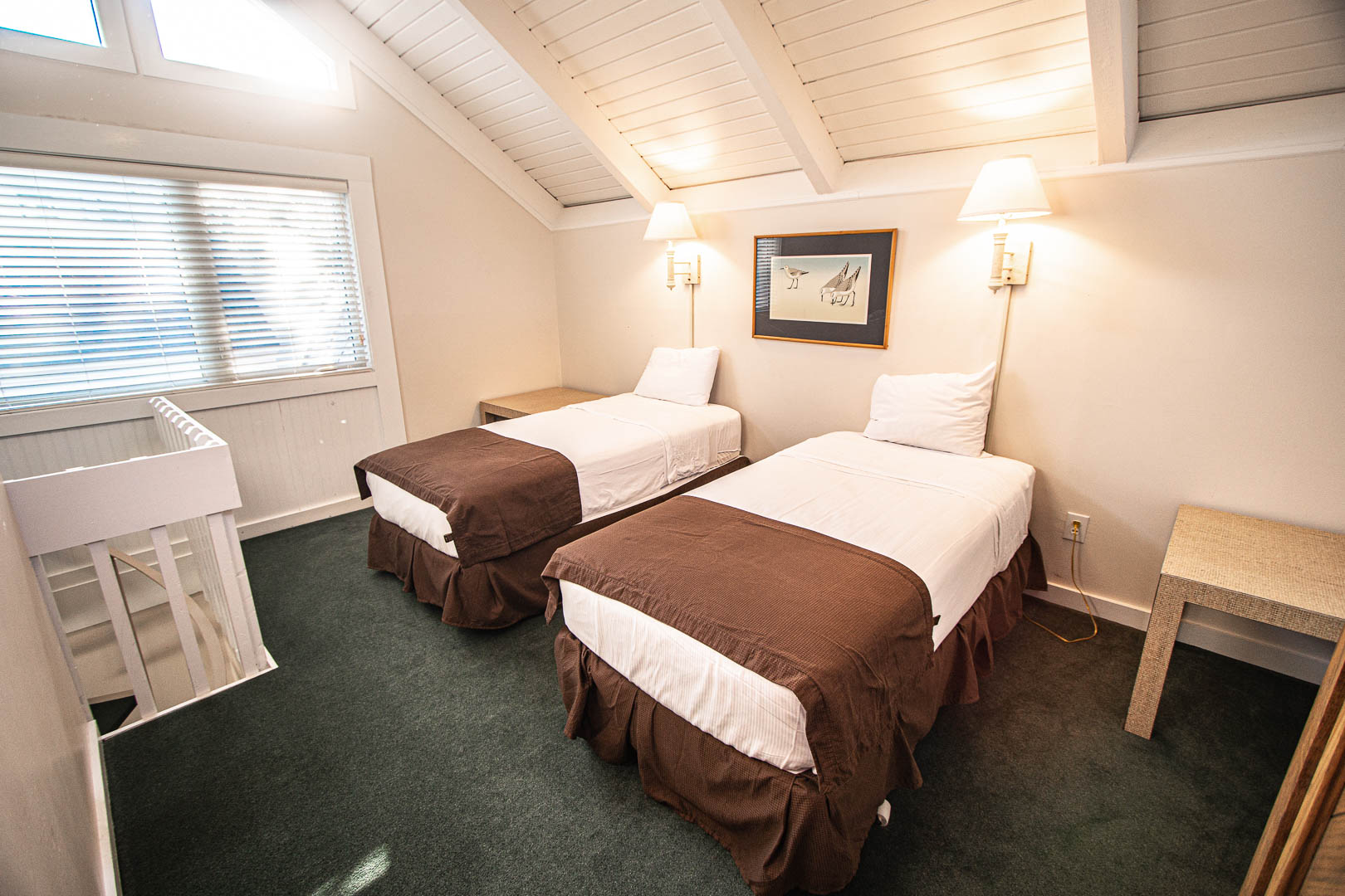 A two bedroom with double beds at VRI's Waterwood Townhomes in New Bern, North Carolina.