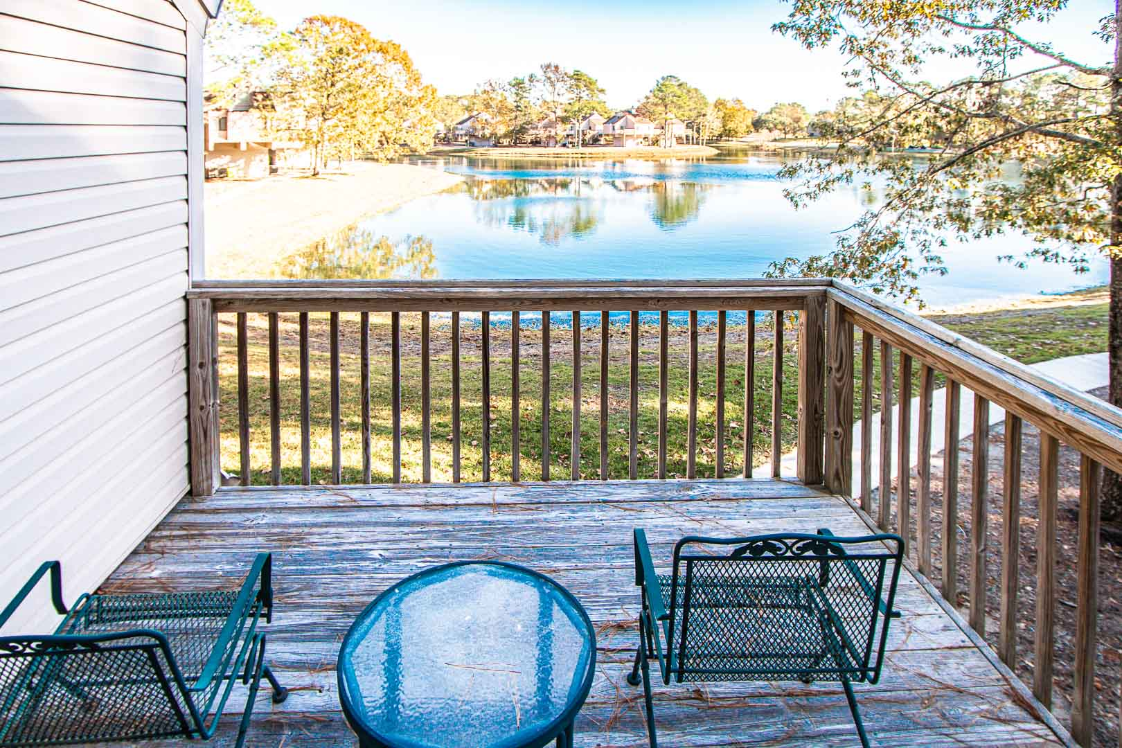 A peaceful balcony view at VRI's Waterwood Townhomes in New Bern, North Carolina.