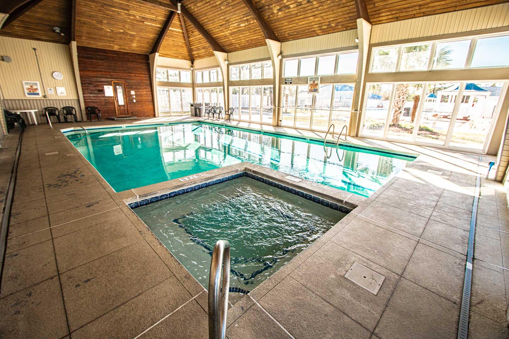 An indoor swimming pool at VRI's Waterwood Townhomes in New Bern, North Carolina.