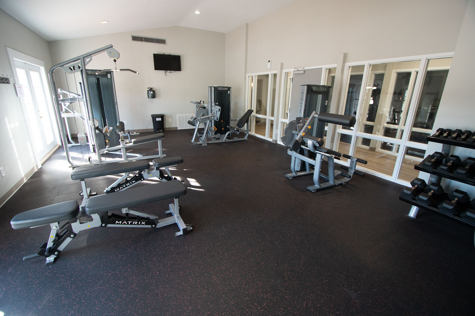 A fully equipped exercise room at VRI's Waterwood Townhomes in New Bern, North Carolina.