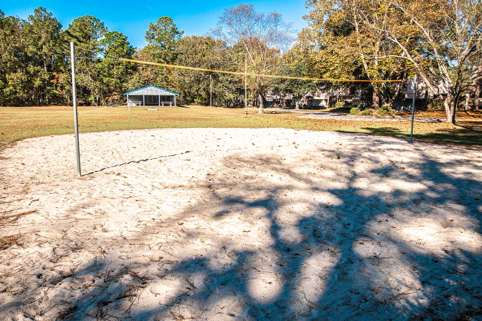An outdoor volleyball net at VRI's Waterwood Townhomes in New Bern, North Carolina.