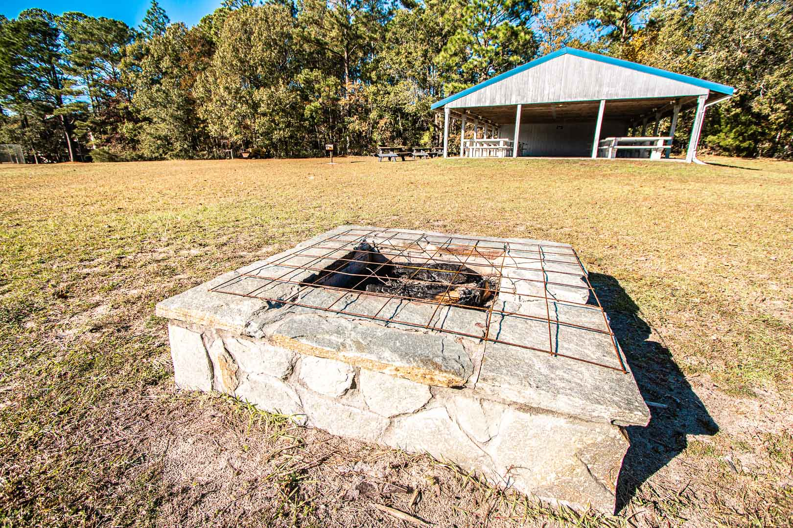 An outdoor bomb fire pit at VRI's Waterwood Townhomes in New Bern, North Carolina.