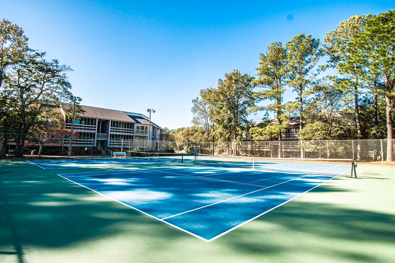A spacious outdoor tennis court at VRI's Waterwood Townhomes in New Bern, North Carolina.