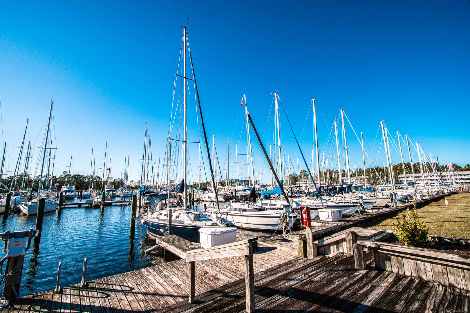 A scenic view of the boat dock at VRI's Waterwood Townhomes in New Bern, North Carolina.