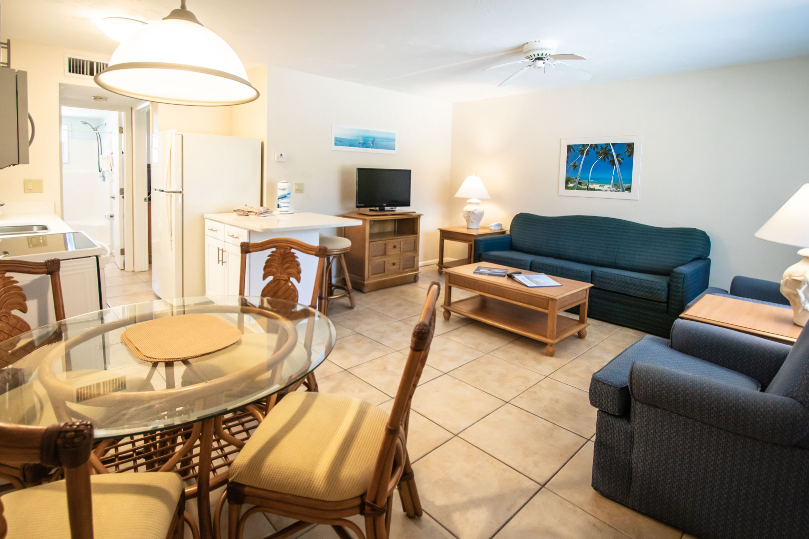A spacious living room at VRI's Windward Passage Resort in Fort Myers Beach, Florida.