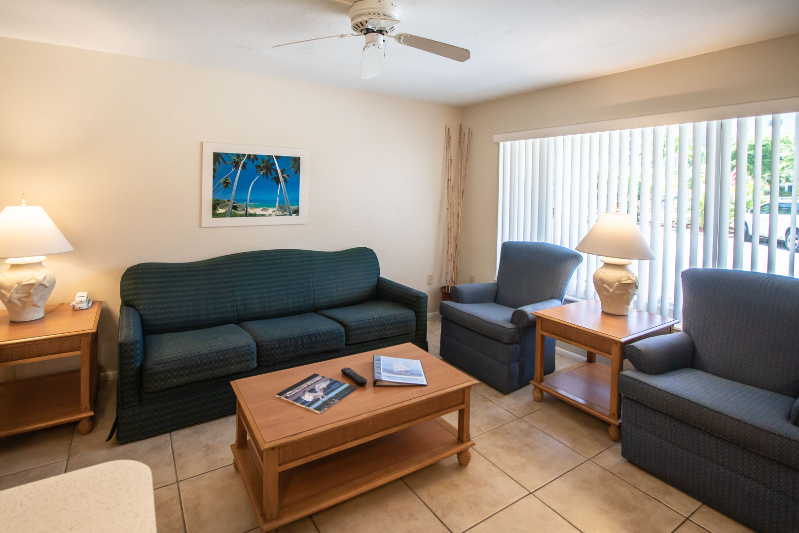 A quaint living room at VRI's Windward Passage Resort in Fort Myers Beach, Florida.