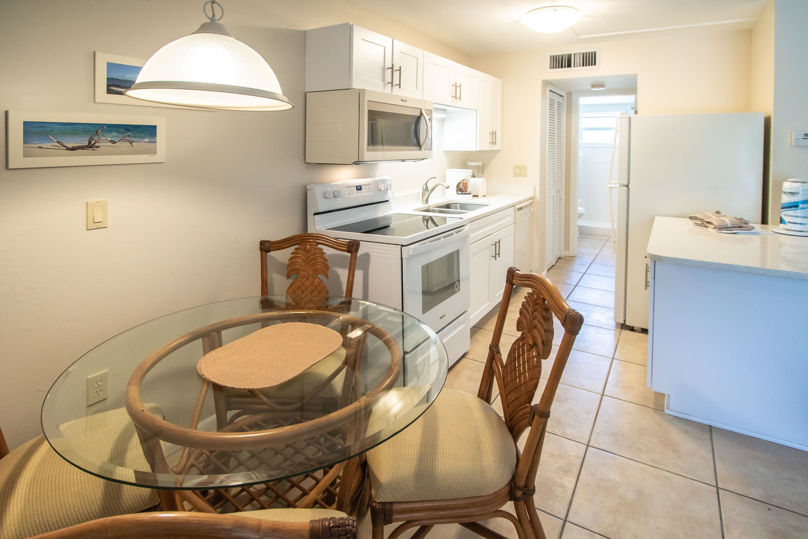 A clean kitchen at VRI's Windward Passage Resort in Fort Myers Beach, Florida.