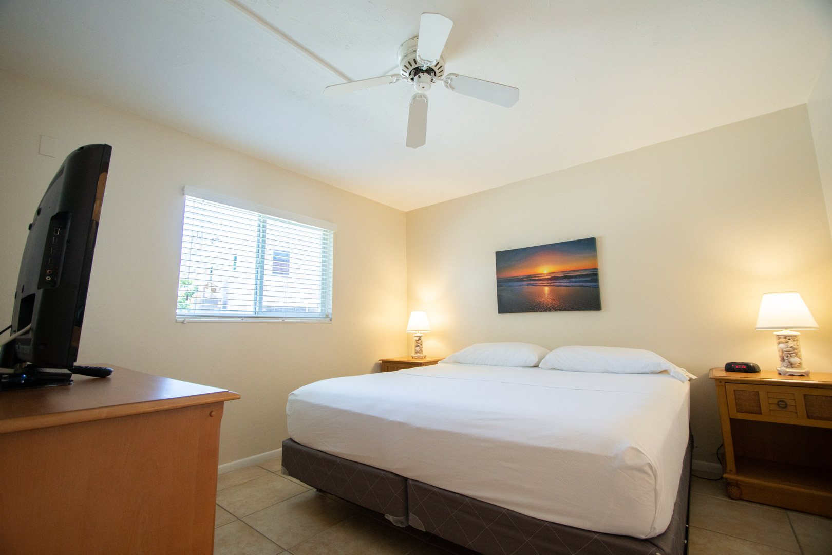 A spacious master bedroom at VRI's Windward Passage Resort in Fort Myers Beach, Florida.