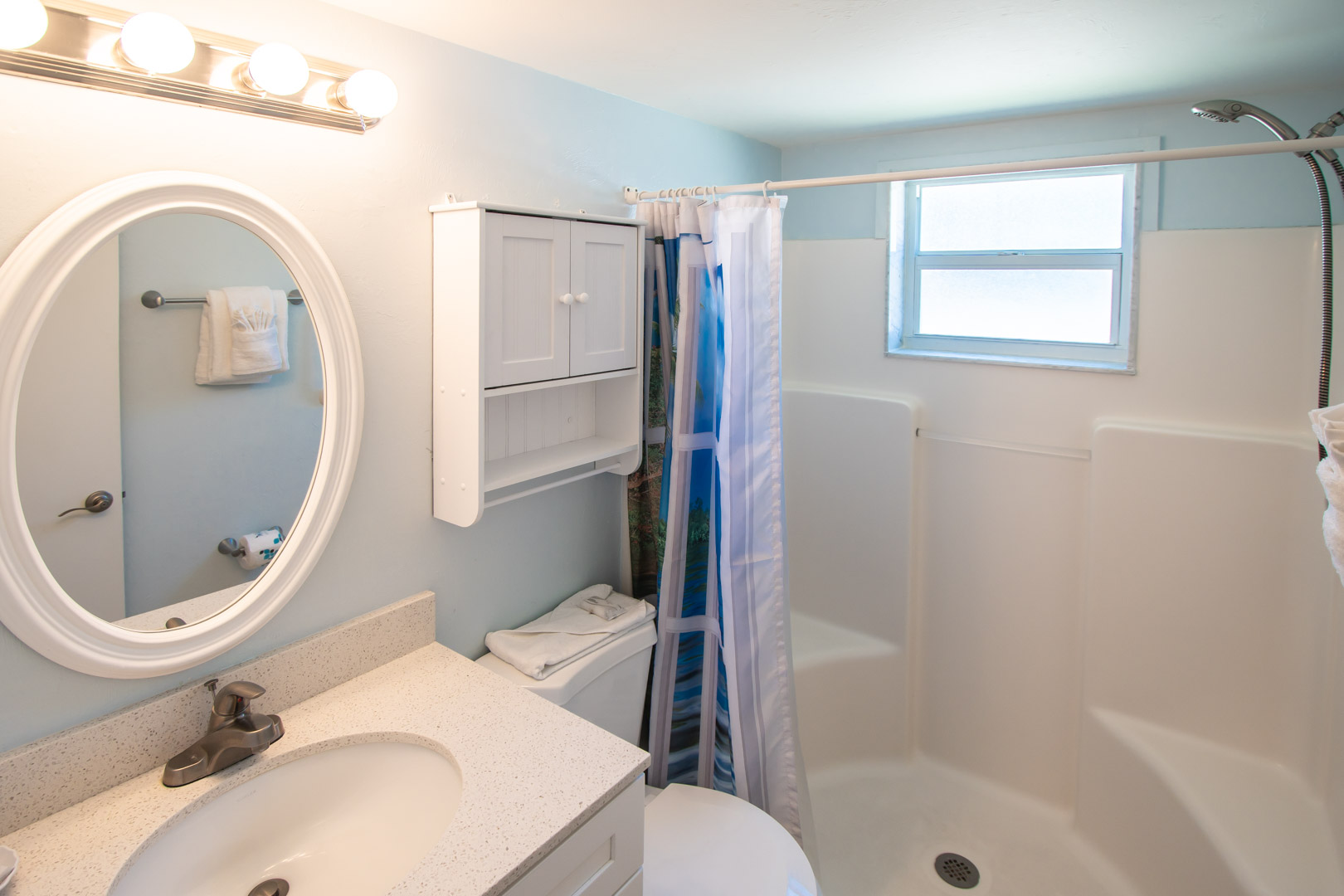 A clean bathroom at VRI's Windward Passage Resort in Fort Myers Beach, Florida.