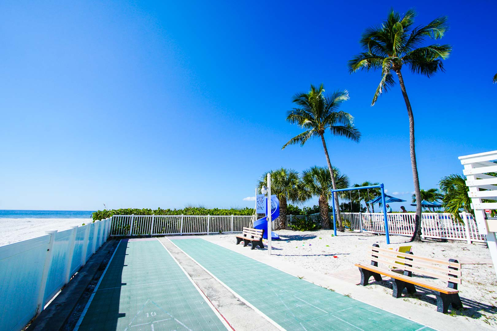 A playground facing the beach at VRI's Windward Passage Resort in Fort Myers Beach, Florida.