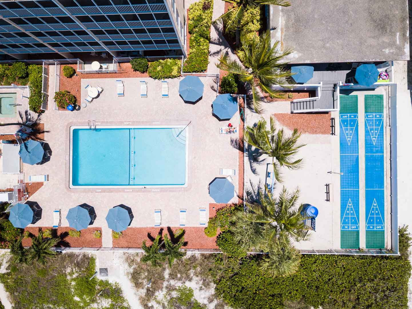 An exterior view of the resort at VRI's Windward Passage Resort in Fort Myers Beach, Florida.