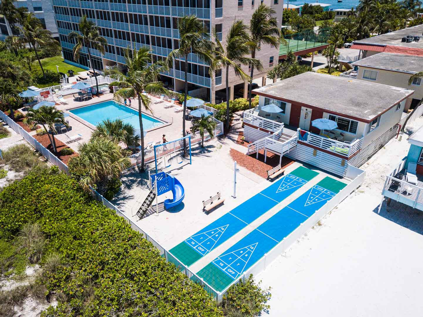 A view of the outdoor amenities at VRI's Windward Passage Resort in Fort Myers Beach, Florida.