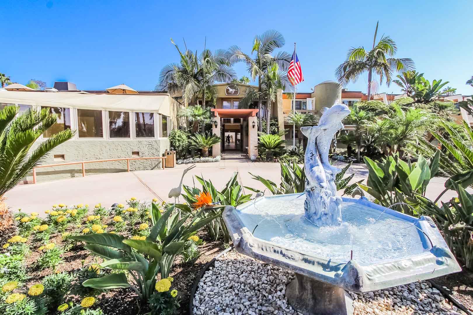 A welcoming resort entrance at VRI's Winner Circle Resort in California.