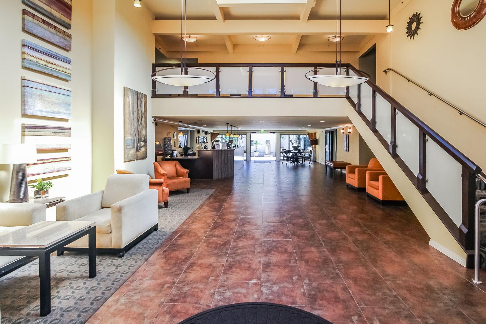 A beautiful lobby area at VRI's Winner Circle Resort in California.
