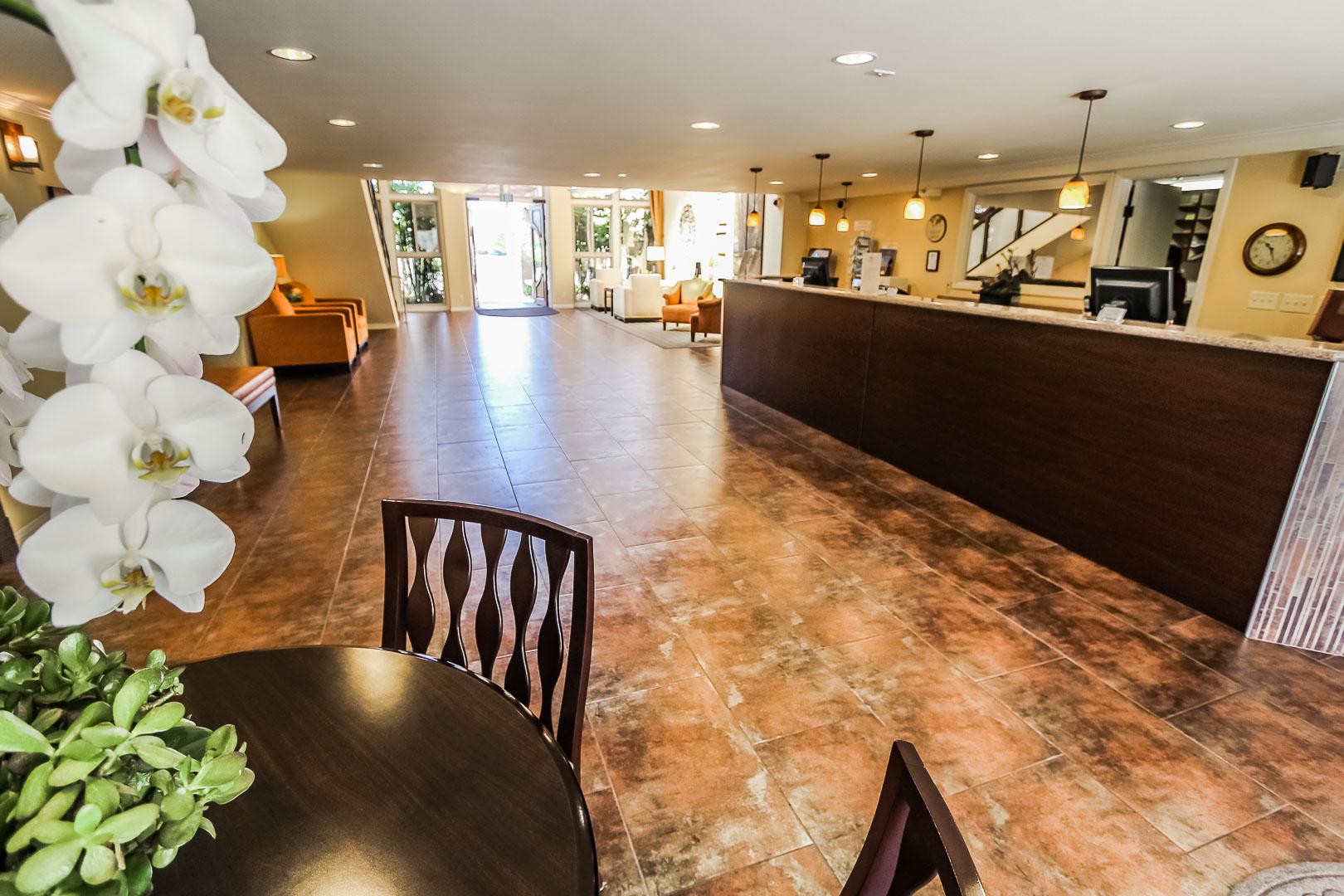 A renovated lobby area at VRI's Winner Circle Resort in California.