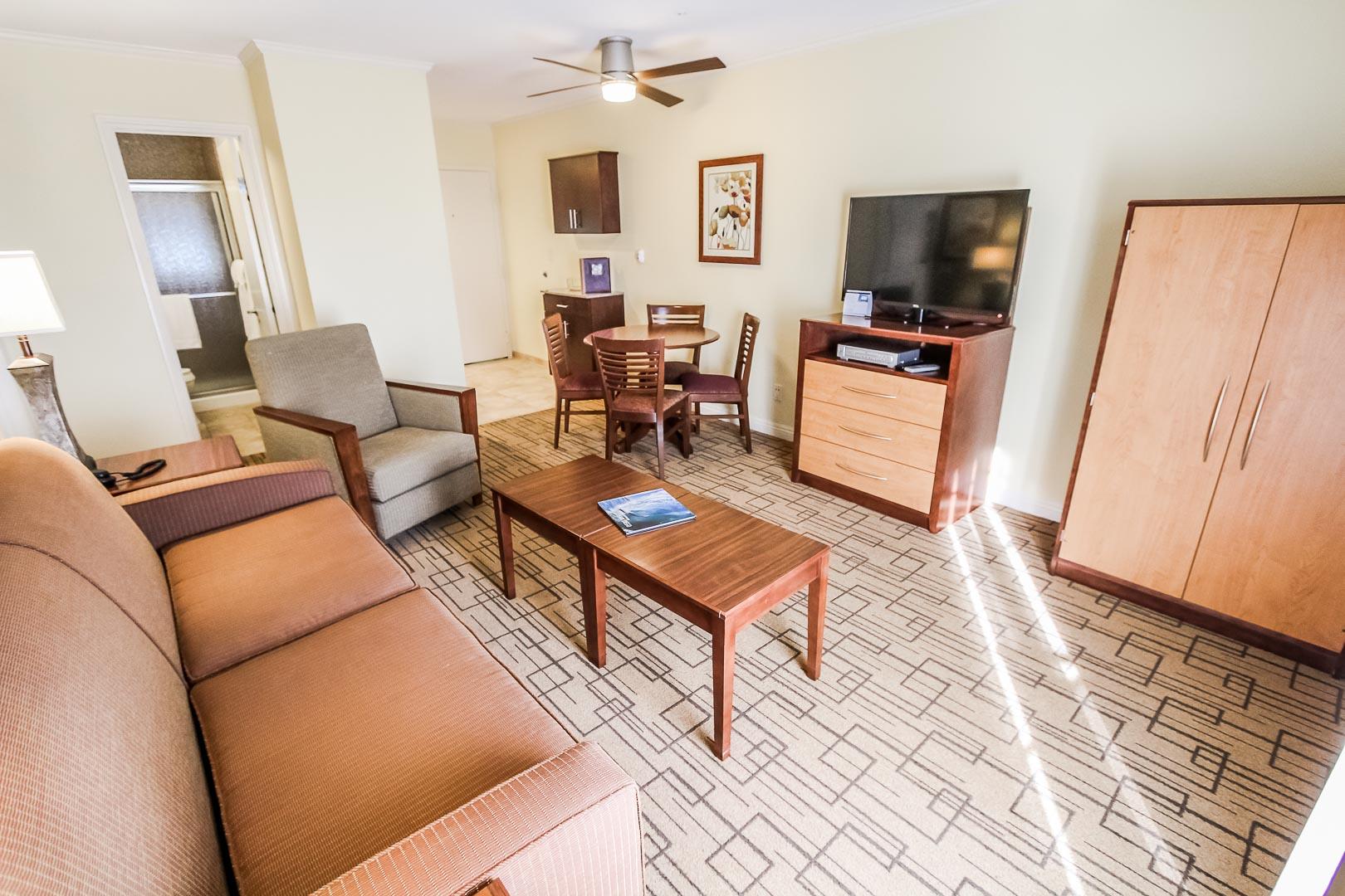 A modern living room area at VRI's Winner Circle Resort in California.