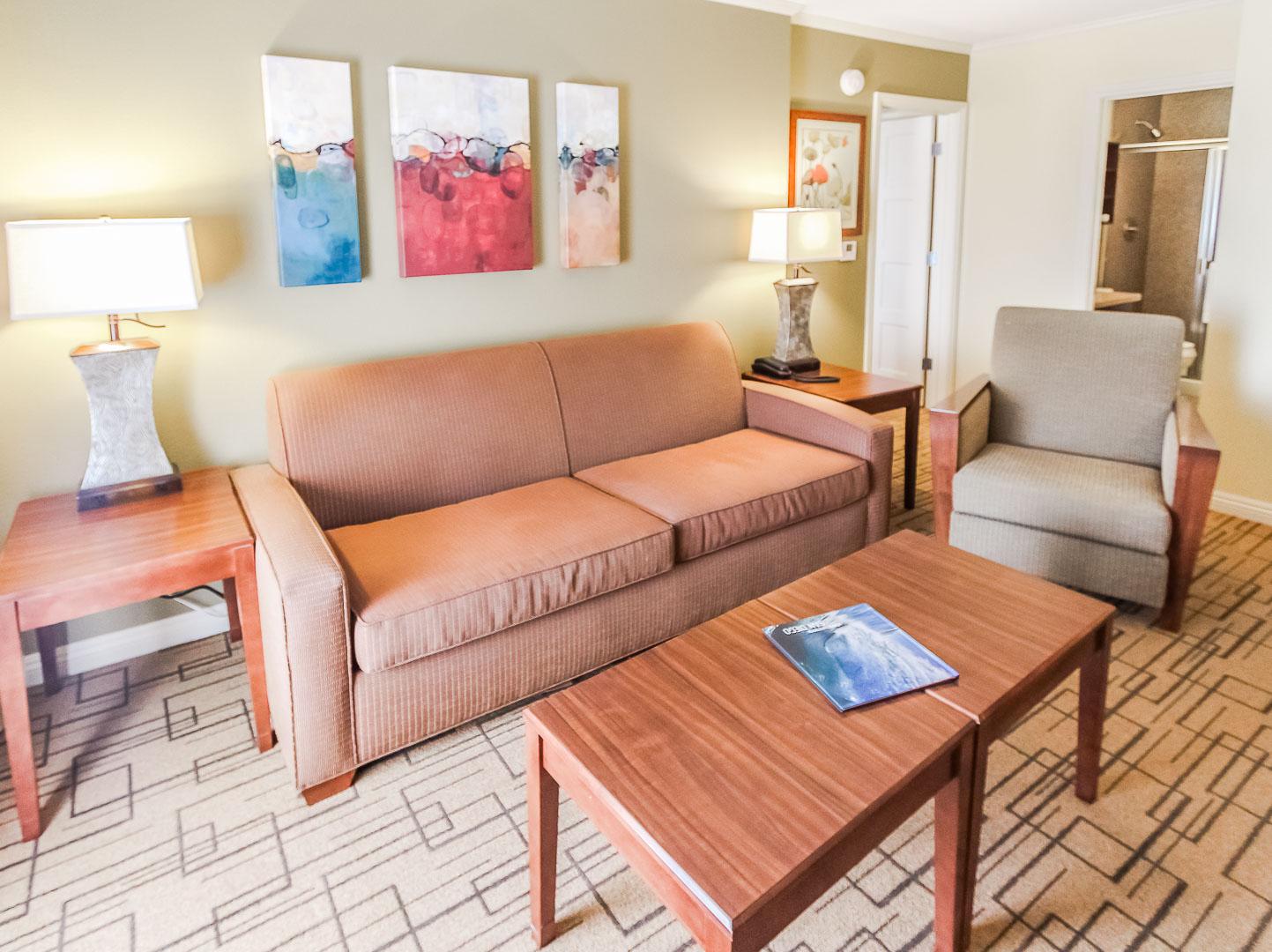 A charming living room area at VRI's Winner Circle Resort in California.
