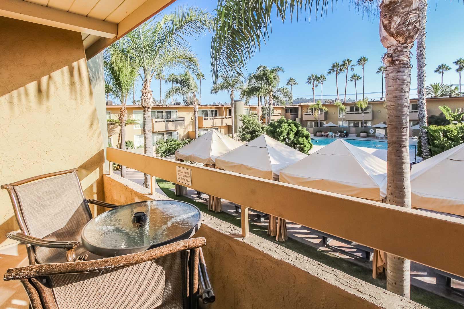 A relaxing balcony view at VRI's Winner Circle Resort in California.