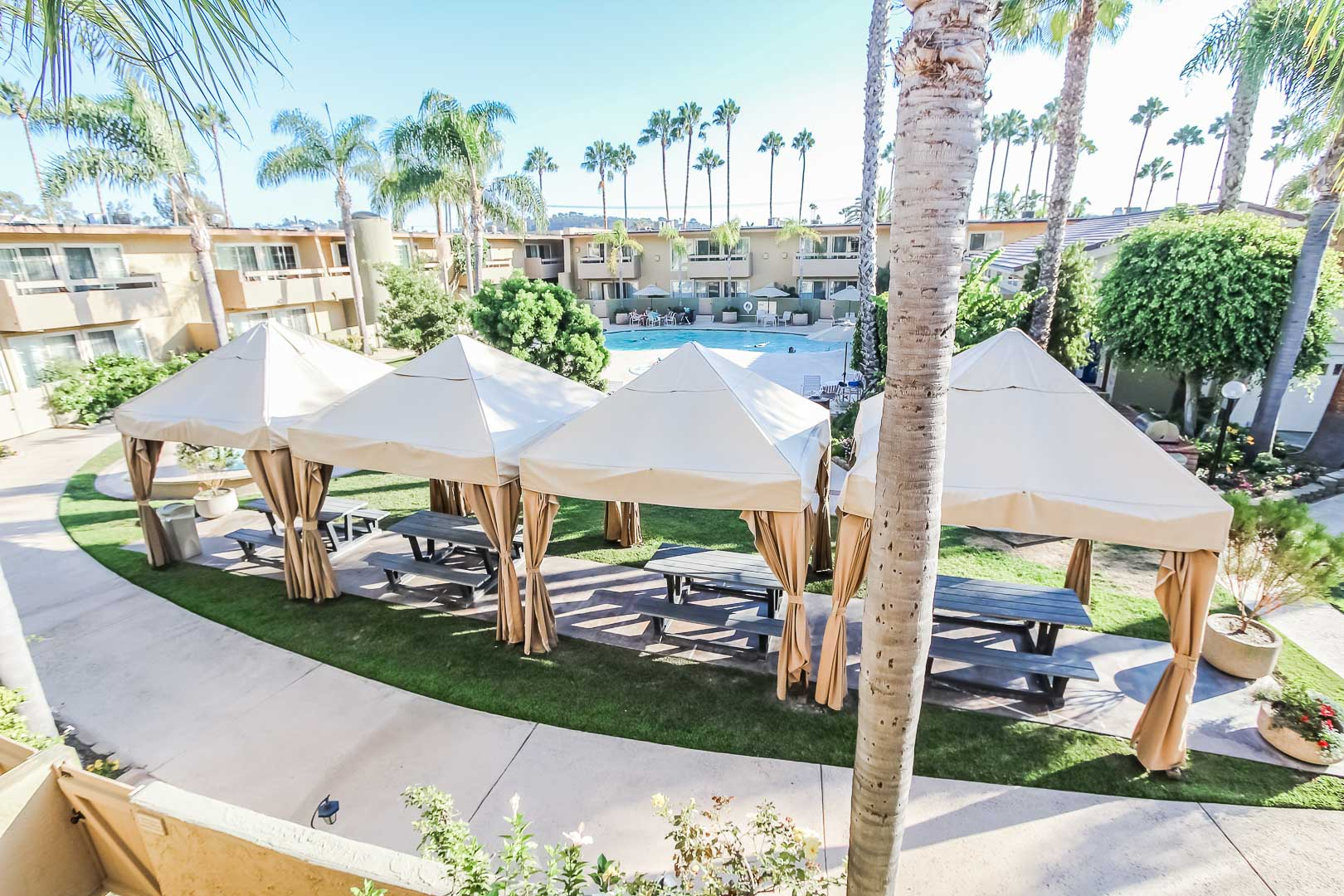 A relaxing outside view of VRI's Winner Circle Resort in California.