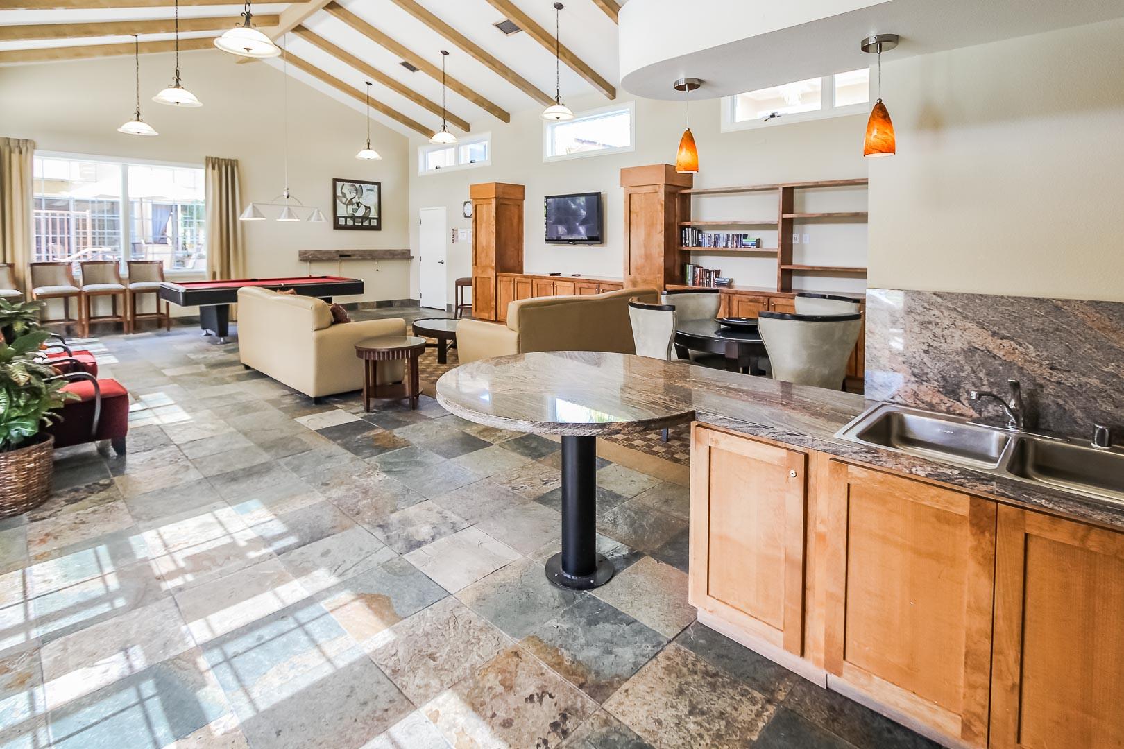 A spacious lounging area at VRI's Winner Circle Resort in California.