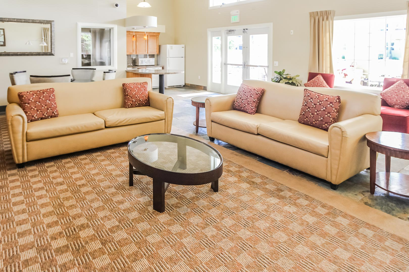 A community kitchen and living room area at VRI's Winner Circle Resort in California.
