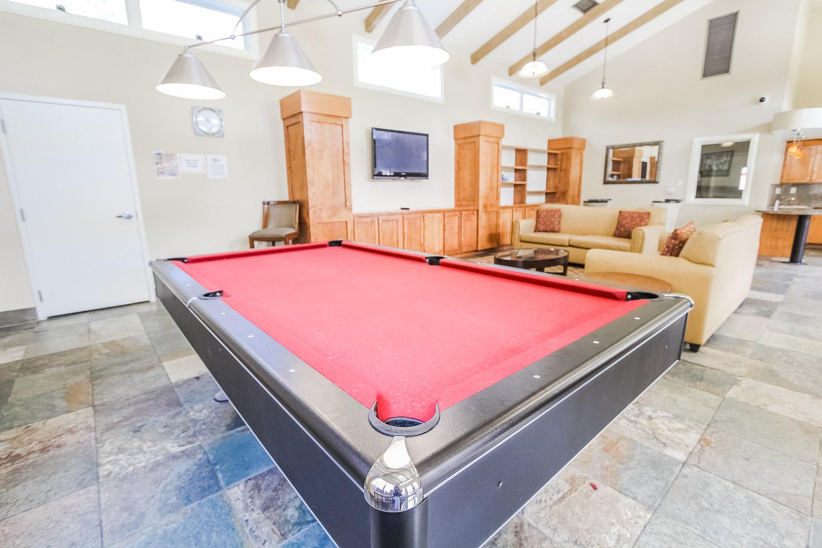 A vibrant pool table at VRI's Winner Circle Resort in California.